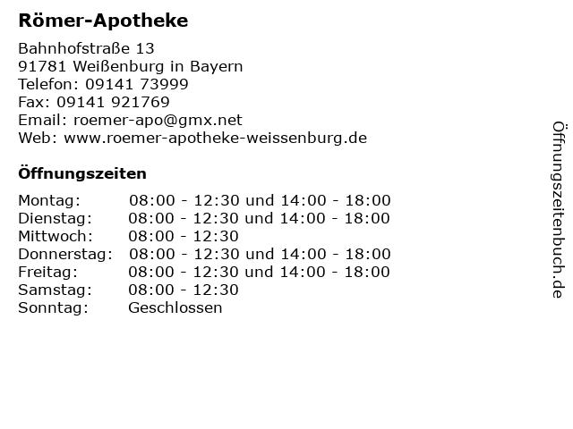 Römer-Apotheke, Elke Caye in Weißenburg: Adresse und Öffnungszeiten