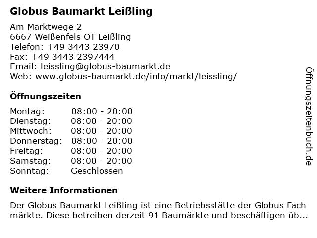 Globus Baumarkt Leißling in Weißenfels OT Leißling: Adresse und Öffnungszeiten