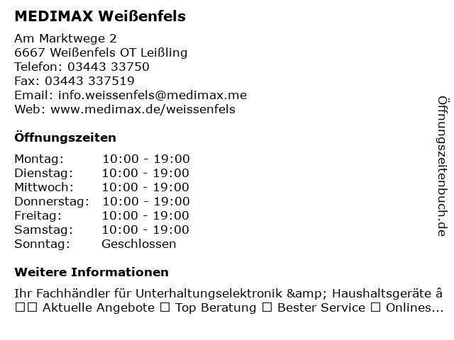 MEDIMAX Electronic Weißenfels GmbH in Leißling: Adresse und Öffnungszeiten