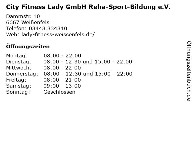 City Fitness Lady GmbH Reha-Sport-Bildung e.V. in Weißenfels: Adresse und Öffnungszeiten