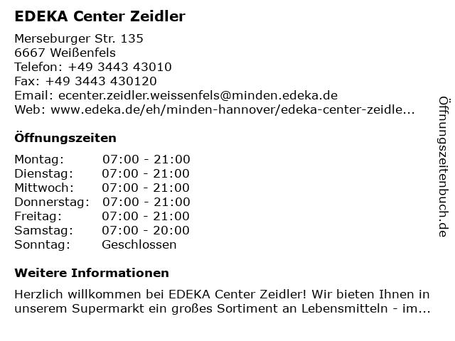 EDEKA center Zeidler in Weißenfels: Adresse und Öffnungszeiten