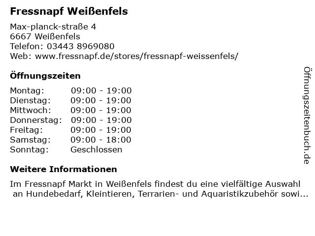 Fressnapf Weißenfels in Weißenfels: Adresse und Öffnungszeiten
