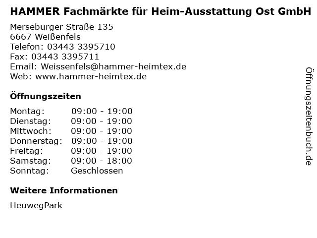 HAMMER Fachmärkte für Heim-Ausstattung Ost GmbH in Weißenfels: Adresse und Öffnungszeiten