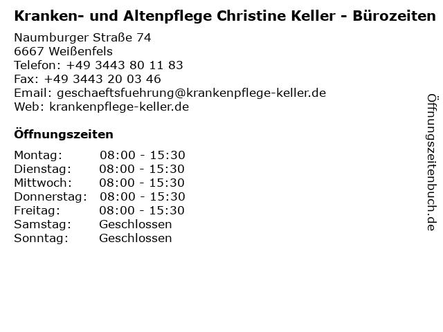 Kranken- und Altenpflege Christine Keller - Bürozeiten in Weißenfels: Adresse und Öffnungszeiten