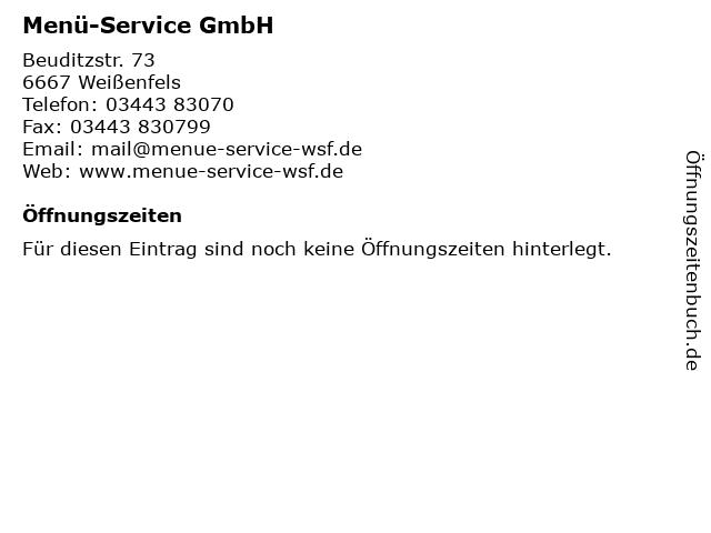 Menü-Service GmbH in Weißenfels: Adresse und Öffnungszeiten