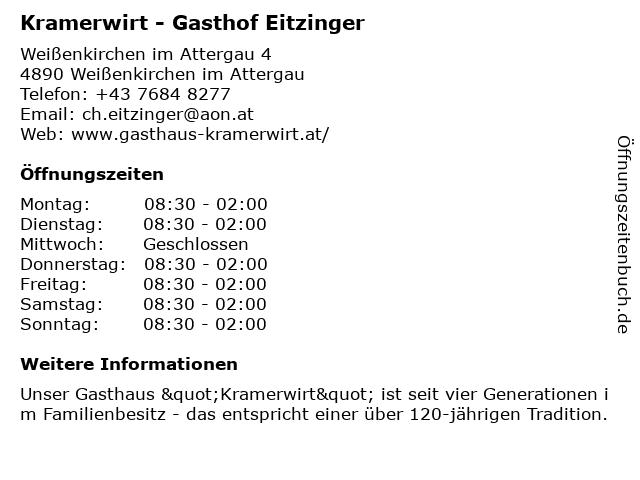 Kramerwirt - Gasthof Eitzinger in Weißenkirchen im Attergau: Adresse und Öffnungszeiten