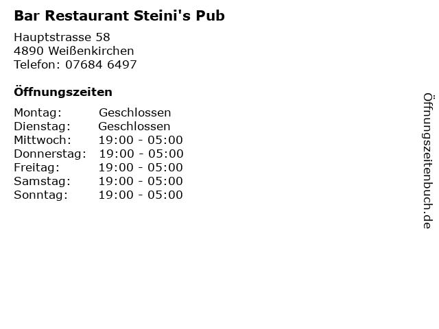 Bar Restaurant Steini's Pub in Weißenkirchen: Adresse und Öffnungszeiten