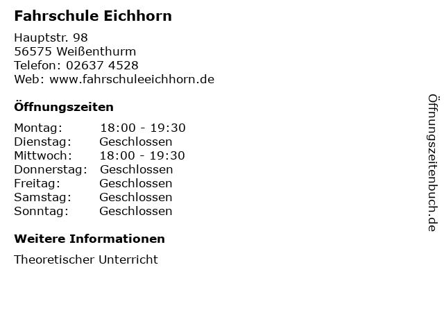 Fahrschule Eichhorn in Weißenthurm: Adresse und Öffnungszeiten