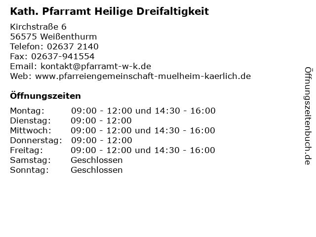 Kath. Pfarramt Heilige Dreifaltigkeit in Weißenthurm: Adresse und Öffnungszeiten