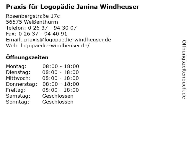 Praxis für Logopädie Janina Windheuser in Weißenthurm: Adresse und Öffnungszeiten