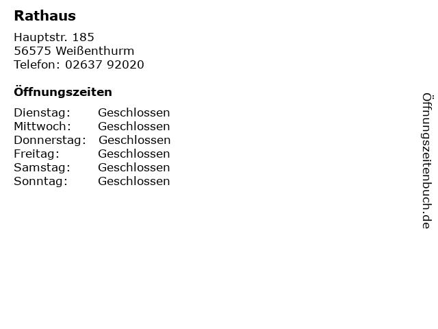 Rathaus in Weißenthurm: Adresse und Öffnungszeiten