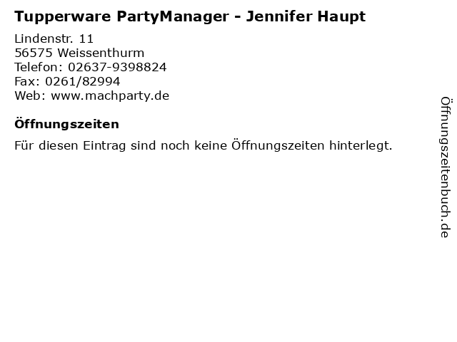 Tupperware PartyManager - Jennifer Haupt in Weissenthurm: Adresse und Öffnungszeiten