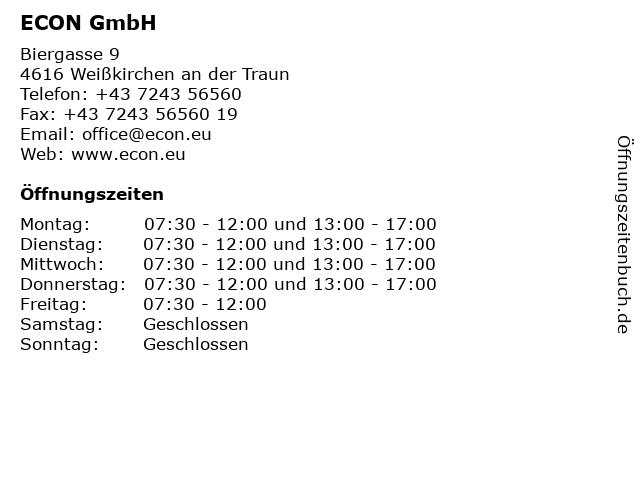 ECON GmbH in Weißkirchen an der Traun: Adresse und Öffnungszeiten