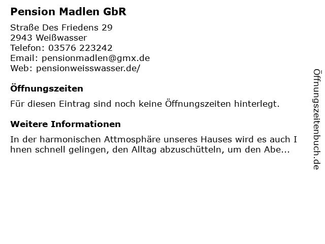 Pension Madlen GbR in Weißwasser/O.L.: Adresse und Öffnungszeiten
