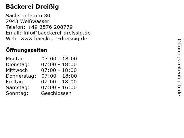 Bäckerei Dreißig in Weißwasser/Oberlausitz: Adresse und Öffnungszeiten