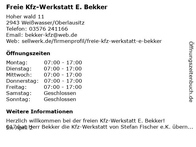 Freie Kfz-Werkstatt E. Bekker in Weißwasser: Adresse und Öffnungszeiten
