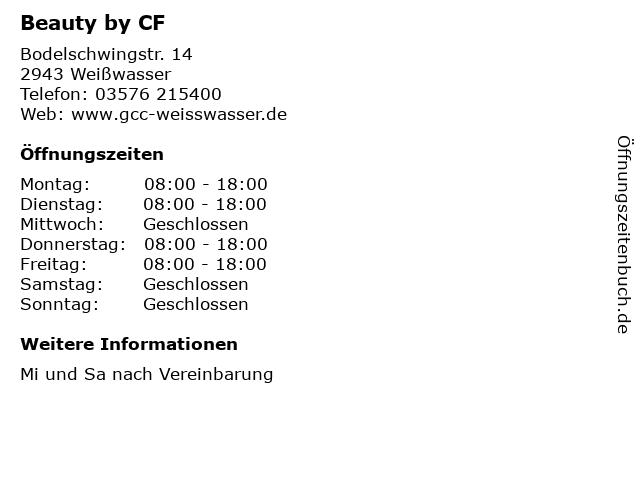 Beauty by CF in Weißwasser: Adresse und Öffnungszeiten