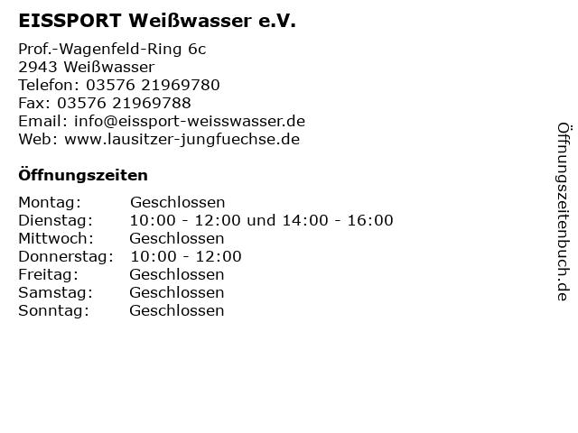 EISSPORT Weißwasser e.V. in Weißwasser: Adresse und Öffnungszeiten