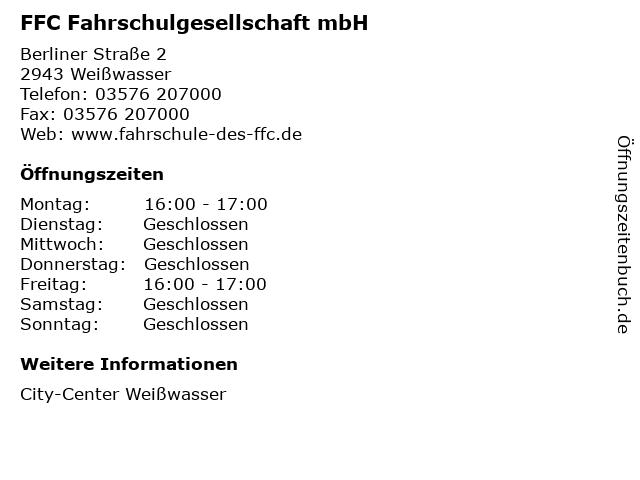 FFC Fahrschulgesellschaft mbH in Weißwasser: Adresse und Öffnungszeiten