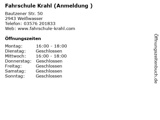 Fahrschule Krahl (Anmeldung ) in Weißwasser: Adresse und Öffnungszeiten