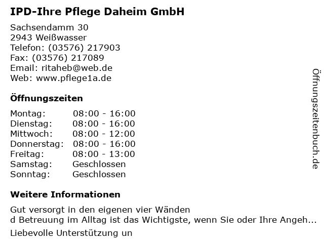 Pflegedienst-Ihre Pflege Daheim in Weißwasser: Adresse und Öffnungszeiten