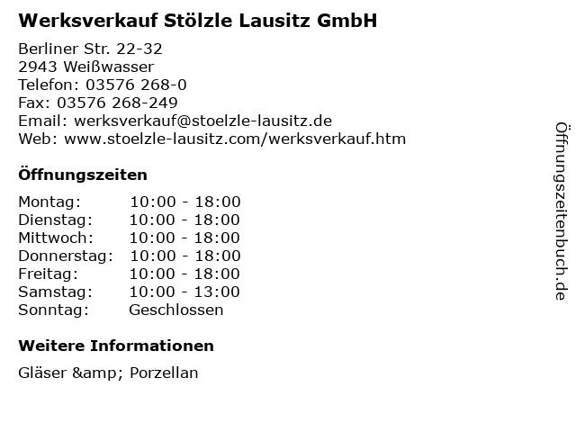 Werksverkauf Stölzle Lausitz GmbH in Weißwasser: Adresse und Öffnungszeiten
