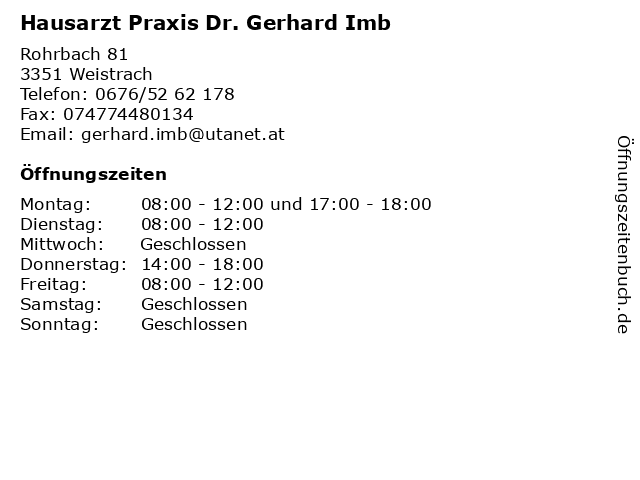 Hausarzt Praxis Dr. Gerhard Imb in Weistrach: Adresse und Öffnungszeiten
