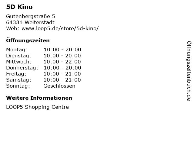 5D Kino in Weiterstadt: Adresse und Öffnungszeiten