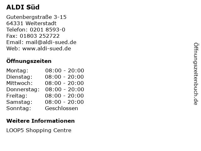 ALDI Süd in Weiterstadt: Adresse und Öffnungszeiten
