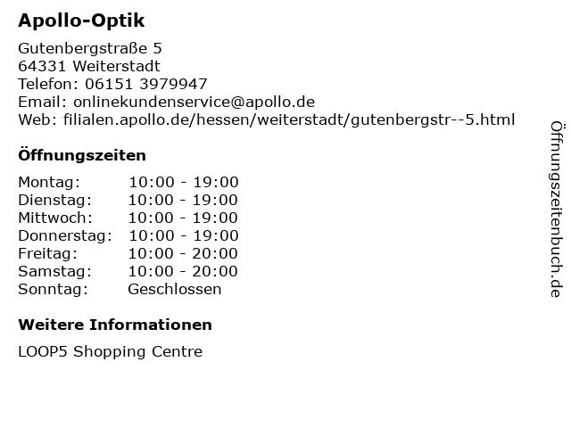 Apollo-Optik Holding GmbH & Co. KG in Weiterstadt: Adresse und Öffnungszeiten