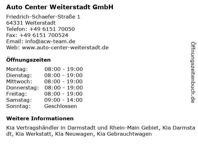 Auto Center Weiterstadt GmbH in Weiterstadt: Adresse und Öffnungszeiten