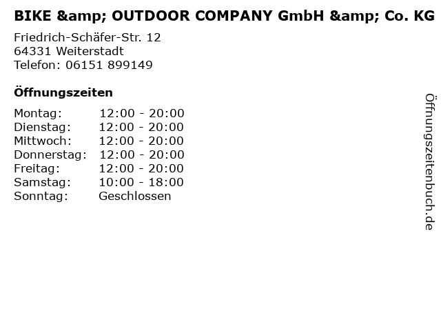 BIKE & OUTDOOR COMPANY GmbH & Co. KG in Weiterstadt: Adresse und Öffnungszeiten