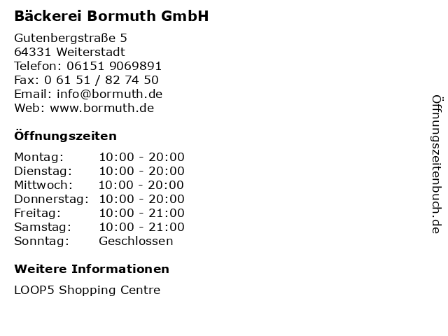 Bäckerei Bormuth GmbH in Weiterstadt: Adresse und Öffnungszeiten