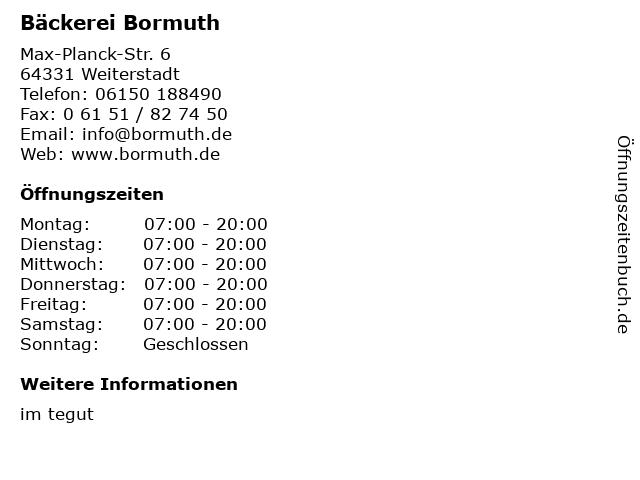 Bäckerei Bormuth in Weiterstadt: Adresse und Öffnungszeiten