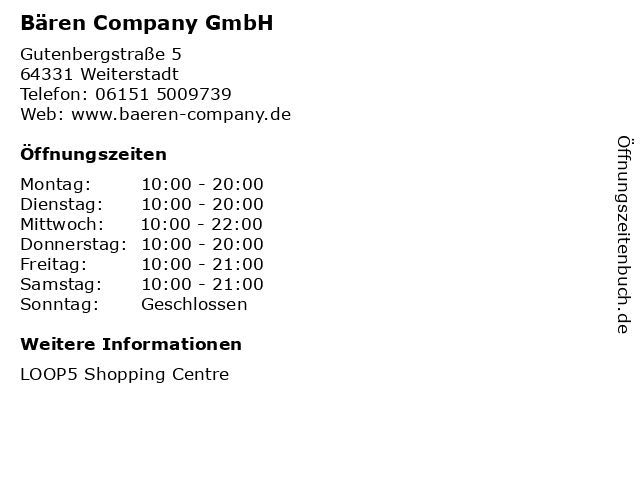 Bären Company GmbH in Weiterstadt: Adresse und Öffnungszeiten