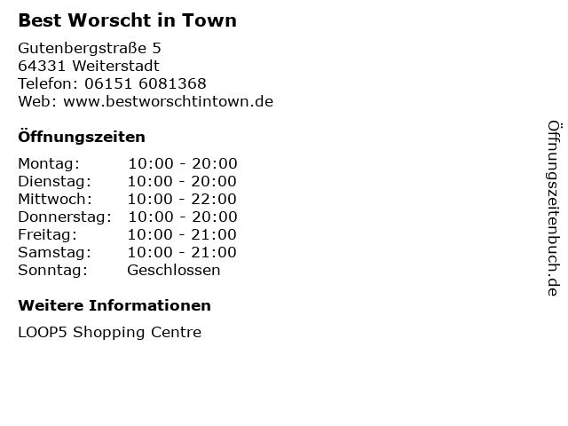 Best Worscht in Town in Weiterstadt: Adresse und Öffnungszeiten