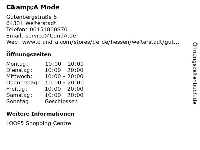 C&A Mode GmbH & Co. KG in Weiterstadt: Adresse und Öffnungszeiten