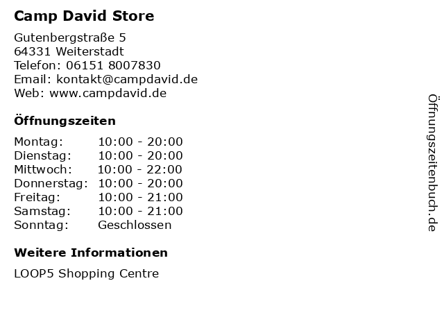 Camp David Store in Weiterstadt: Adresse und Öffnungszeiten