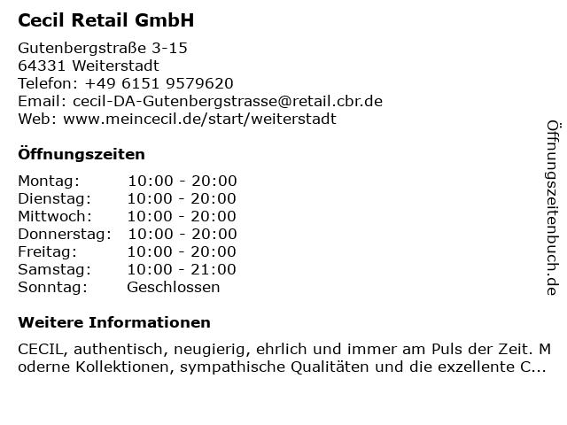 Cecil Retail GmbH in Weiterstadt: Adresse und Öffnungszeiten