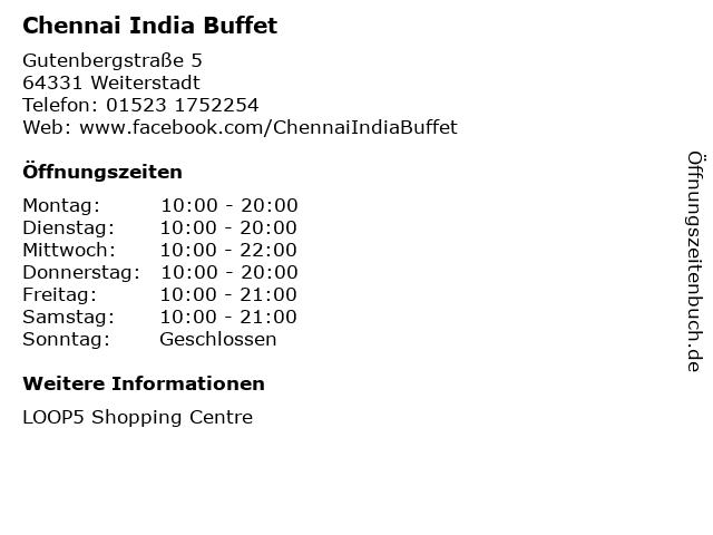 Chennai India Buffet in Weiterstadt: Adresse und Öffnungszeiten