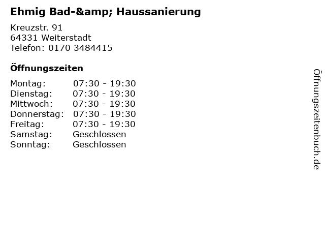 Ehmig Bad-& Haussanierung in Weiterstadt: Adresse und Öffnungszeiten