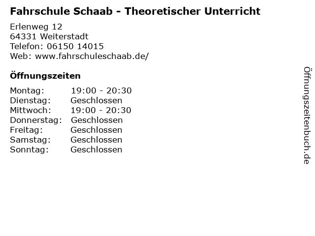 Fahrschule Schaab - Theoretischer Unterricht in Weiterstadt: Adresse und Öffnungszeiten