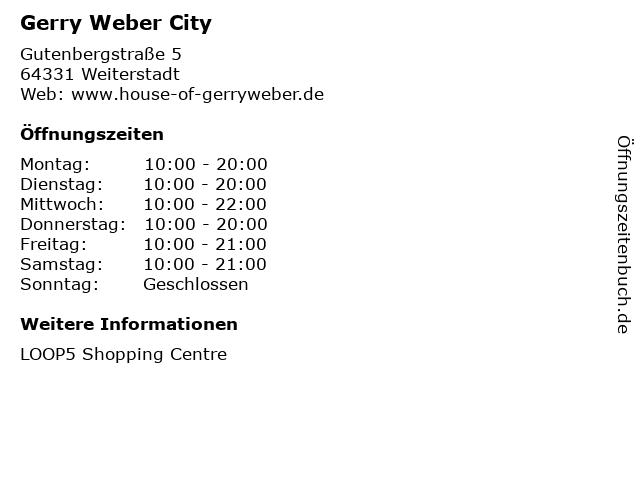 Gerry Weber City in Weiterstadt: Adresse und Öffnungszeiten