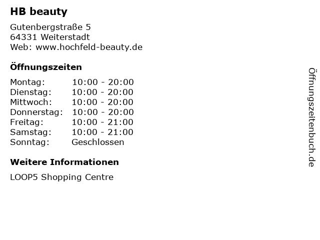 HB beauty in Weiterstadt: Adresse und Öffnungszeiten
