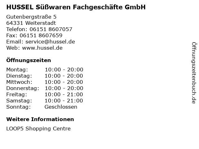 HUSSEL Süßwaren Fachgeschäfte GmbH in Weiterstadt: Adresse und Öffnungszeiten