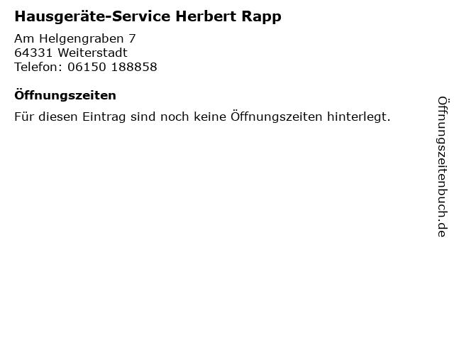 Hausgeräte-Service Herbert Rapp in Weiterstadt: Adresse und Öffnungszeiten