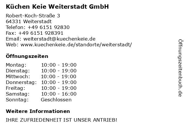 Küchen Keie Weiterstadt GmbH in Weiterstadt: Adresse und Öffnungszeiten