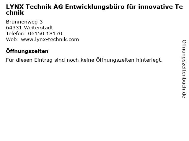 LYNX Technik AG Entwicklungsbüro für innovative Technik in Weiterstadt: Adresse und Öffnungszeiten