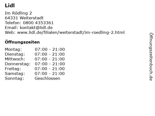 Lidl in Weiterstadt: Adresse und Öffnungszeiten