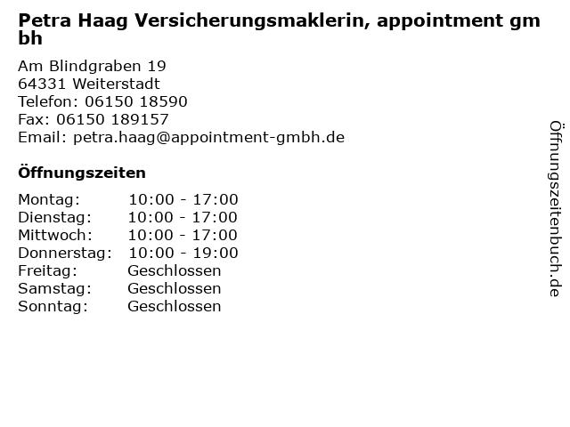Petra Haag Versicherungsmaklerin, appointment gmbh in Weiterstadt: Adresse und Öffnungszeiten